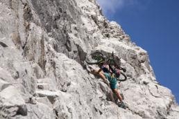Mountainbiken im Rätikon - Sicherung legen