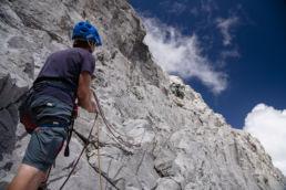 Mountainbiken im Rätikon - Die Kletteraktion beginnt